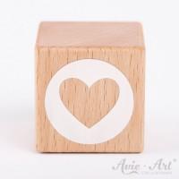 Holzwürfel mit Herzmotiv Herz weiße Farbe handbemalt