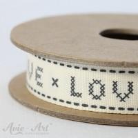 Webband Cross Stitch Love - schwarz