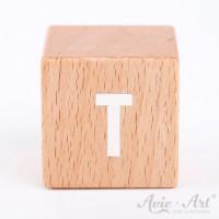 Holzwürfel Buchstaben weiße Farbe T positiv