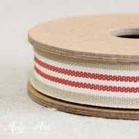 Webband Streifen - beige / weiß / rot