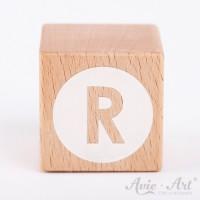 Holzwürfel Buchstaben weiße Farbe R negativ
