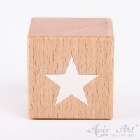 Holzwürfel mit Sternenmotiv Stern weiße Farbe handbemalt