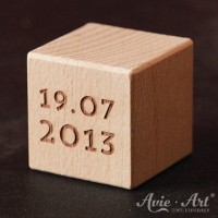 Holzwürfel mit Datum - Geburtstag