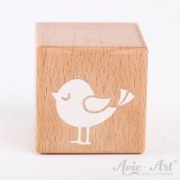 Holzwürfel mit Vogelmotiv, Vogel, Bird weiße Farbe handbemalt