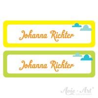 Namensaufkleber für Stifte in 2 Farben - gelb und grün