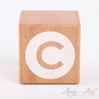 Holzwürfel Buchstaben weiße Farbe C negativ