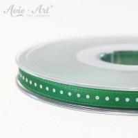 dunkelgrünes Satinband 6 mm mit weißen Punkten