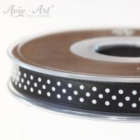 schwarzes Satinband 10mm mit weißen Punkten