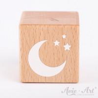 Holzwürfel mit einer Mondsichel und Sternen weiße Farbe handbemalt