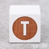 weißer Buchstabenwürfel - Buchstabe T