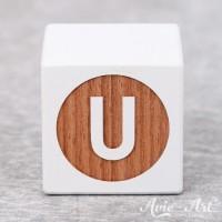 weißer Buchstabenwürfel - Buchstabe U