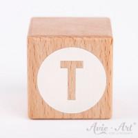 Holzwürfel Buchstaben weiße Farbe T negativ