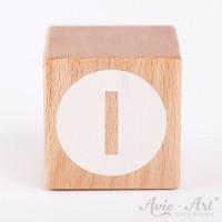 Holzwürfel Buchstaben weiße Farbe I negativ