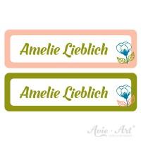 Namensaufkleber für Stifte in 2 Farben - rose und grün