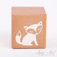 Holzwürfel mit Fuchsmotiv, Fuchs, fox weiße Farbe handbemalt