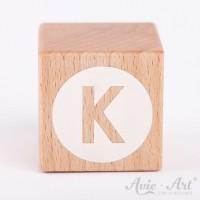 Holzwürfel Buchstaben weiße Farbe K negativ