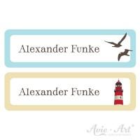 Namensaufkleber für Stifte in 2 Farben - blau und beige