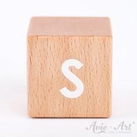 Holzwürfel Buchstaben weiße Farbe S positiv