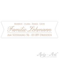 Aufkleber mit Vornamen und Adresse Kalligrafie II