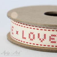 Webband Cross Stitch Love - rot