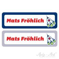 Namensaufkleber für Stifte in 2 Farben - blau und grau