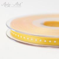 gelbes Satinband 6 mm mit weißen Punkten