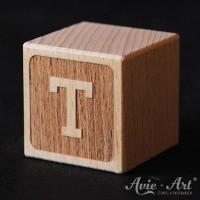 Buchstabenwürfel Holz graviert Buchstabe T