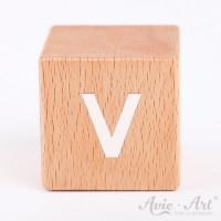 Holzwürfel Buchstaben weiße Farbe V positiv